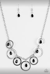 Silver Ring Necklace w Black Beads in Leesville, Louisiana