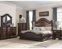 Edinburgh Queen Size Bed Set - bed + dresser+ mirror + 1 night stand + delivery in Hohenfels, Germany