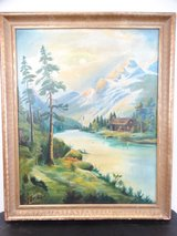 Signed Mountain Landscape in Alvin, Texas