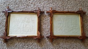 2 Leaf framed pictures, Crewel work print in Wright-Patterson AFB, Ohio