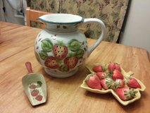 large vase with strawberries, leaf holder, AND hand painted scooper in Bolingbrook, Illinois