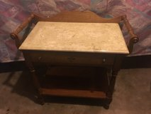 Nice marble top wood serving cart in Fort Campbell, Kentucky