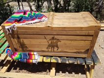 Rustic native firewood bench boxes in Alamogordo, New Mexico