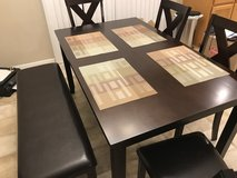 Crown Mark Havana Dining Table 4 chairs/bench. Leather cushion seating. in Fort Leonard Wood, Missouri