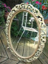 vintage scrolly wood oval mirror in Bolingbrook, Illinois