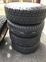 BF GOODRICH tires 25570r18 with Aluminum wheels Jeep Wrangler Sahara log nuts included low miles in Naperville, Illinois