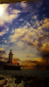 Canvas Chicago Harbor lighthouse in Chicago, Illinois