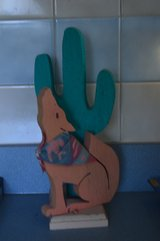 "12"" Painted Wood Cactus & Coyote in Alamogordo, New Mexico"