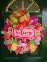 Welcome Mesh Wreath in Plainfield, Illinois