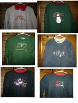 10 NEVER WORN OR WORN ONCE  HOLIDAY SWEATSHIRTS in Bellevue, Nebraska