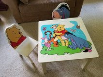 Wooden Winnie The Pooh Table with 2 Chairs in Naperville, Illinois