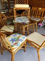 Rattan Glass Topped Table & 4 Chairs #2347-2 in Camp Lejeune, North Carolina