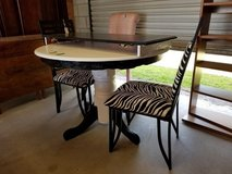 Black & White Painted Oak Pedestal Table Zebra Print Chairs in Camp Lejeune, North Carolina