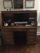 Solid Wood Roll Top Desk/with Chair in Warner Robins, Georgia