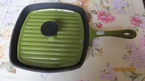 Square Green Enamel Cast Iron Panini Pan Grill with Lid - no makers mark in Byron, Georgia
