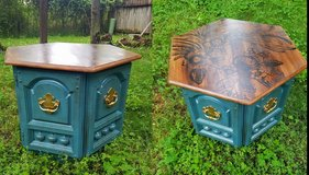Antique octagon storage side table in Spring, Texas