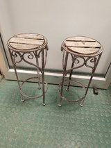 (2) Faux finish painted metal with slatted wood top mini plant stands in Westmont, Illinois