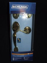 Schlage F60VPLY505FLA605 Bright Brass Plymouth Front Entry Handleset NEW in St. Charles, Illinois