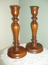 Vintage Maple Wood Early American Style CandleSticks (Pair) in San Antonio, Texas