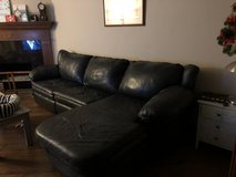 Navy blue leather couch in Camp Pendleton, California