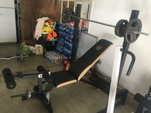 gold gym bench and curl bar weights 90lbs in Camp Pendleton, California