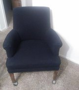 four wood chairs, covered in heavy dark blue frabic in very good condition in Spring, Texas