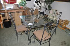 Glass & Iron  DInette w/ 4 chairs in Fort Lewis, Washington