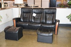 All Leather Theater Reclining Sofa w/ 2 ottomans  made in Norway in Fort Lewis, Washington