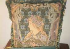 Custom Art Nouveau Lady Tapestry Velvet Pillow Couch Sofa Loveseat in Plainfield, Illinois