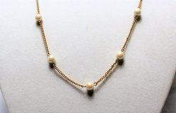 "Sarah Coventry Gold Tone Faux Pearl Necklace 34"" White Bead Strand Long Jewelry in Kingwood, Texas"