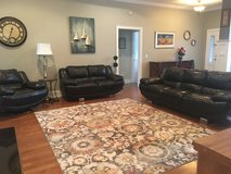 Quality black leather living room set in Shaw AFB, South Carolina