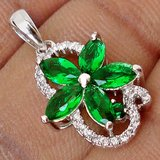 New - Dainty Rare Russian Emerald Flower and White Topaz 925 Sterling Silver Pendant (Includes a... in Alamogordo, New Mexico