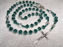 Rosary Black Green Faceted Crystal Beads Italian Silver Medal and Crucifix Custom Good for Quinc... in Kingwood, Texas