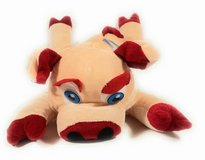 Cream and velvet red stuffed cow toy with blue eyes in Bellaire, Texas