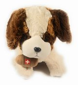 Brown and white medical toy stuffed dog in Bellaire, Texas