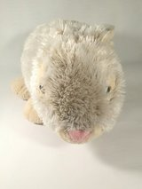 Grey and cream stuffed toy rabbit with pink nose in Bellaire, Texas