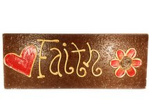 Faith molded onto brown painted wood (can be mounted) in Katy, Texas