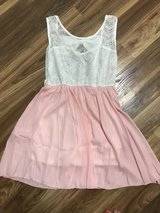 NWOT Peach and white dress (heart shaped back) in Conroe, Texas