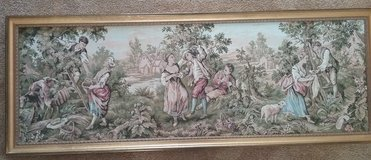 Victorian Framed Tapestry ~ 59x22 ~ Village Green Blue Pink in Travis AFB, California