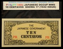 WWII JAPANESE INVASION CURRENCY OF THE PHILIPPINES  1942 - 1944 in Okinawa, Japan