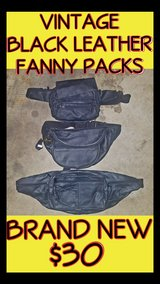 Vintage Black Leather Fanny Packs * BRAND NEW * in Fort Lewis, Washington