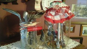 Vintage Pickle Jar & Glass container Filled w/Antique Kitchen Utensils-Assemble by Crafter in Naperville, Illinois