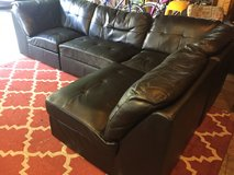 Black Leather Sectional Couch w/ Ottoman in DeKalb, Illinois