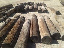 used telephone pole fencing in Yucca Valley, California