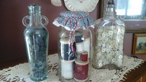 Antique Vintage Bottles & Mason Jar Filled w/Spools of Thread & Buttons Assembled by Crafter in Naperville, Illinois