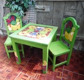 Hand Carved / Painted Imported from Mexico 2D Table with 2 Chairs in Ramstein, Germany