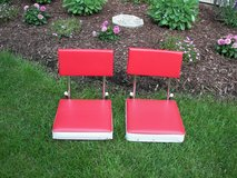 Two Red/White Stadium Seat Cushions Very Good Condition in Naperville, Illinois
