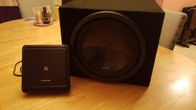 "Alpine 12"" Subwoofer with box and 500 W Amplifier in Summerville, South Carolina"