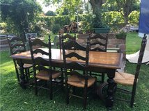 heavy solid antique wood table 6 chairs from France in Ramstein, Germany