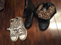 Girls sz 2 cheetah boots and play shoes in Fort Polk, Louisiana